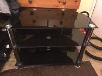 3 tier glass and chrome tv stand