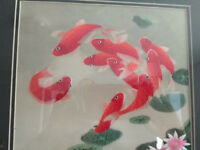 Silk Woven Picture of Gold Fishes