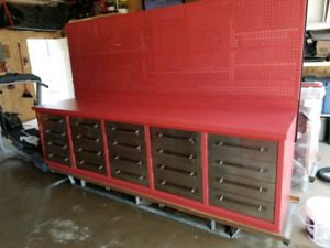 Tool bench with metal peg board