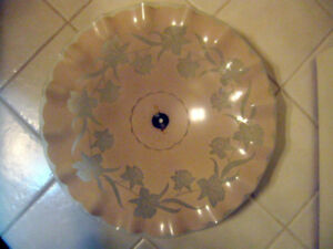 CEILING LIGHT GLASS ETCHED  FLOWERS SHADE 70 YEARS OLD 16 INCH