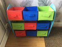 Boys bedroom storage unit, lampshade and bedside table