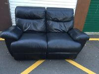 Black Leather Electric Recliner 2 Seater Sofa