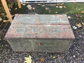 REAL VINTAGE TRUNK CHEST WOODEN BOX FREE DELIVERY STORAGE BOX