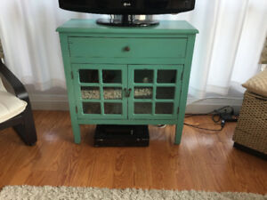 Distressed wood console table/TV stand in light turquoise finish