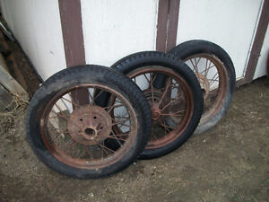 """Ford 21"""" Model A Spoked Wheels - Display Or Restoration Project"""