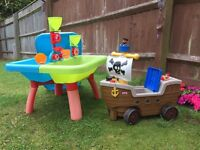 Children's toys ELC sandpit/water table and LITTLE TIKES Pirate ship Ride on toy