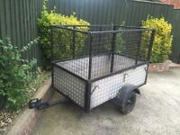 5ft by 3ft checker plated trailer + mesh sides + spare wheel