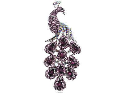 Crystal Peacock Bird - Purple  Crystal Peacock Bird Fashion Costume Jewels Pin Brooch