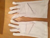 Women's white satin look gloves
