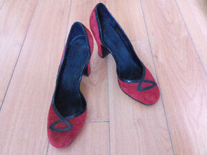 Fluevog Miracle Cana Red Suede Sz 8