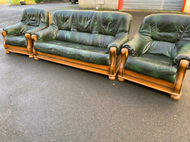 Green Leather 3 Seater Sofa and 2 Chairs