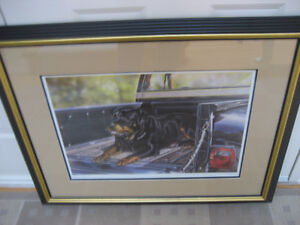"""REDUCED  ROTTWEILER IN CHEV TRUCK  """"HITCHING A RIDE"""" LE FRAMED"""