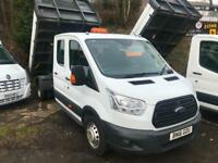 d20018aabf 2016 16 FORD TRANSIT 2.2TDCi CREW CAB 7 SEATS 1-Way DROP SIDE Tipper