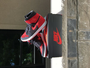 Air Jordan 1 bred Flyknit men's size 9.5 new deadstock