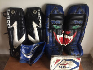 Assorted Goalie Pads and Gloves