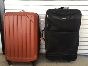Luggage, press back chairs, purses, hats, tables, etc