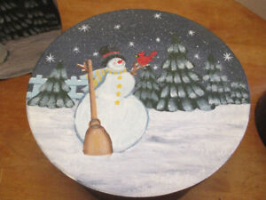 Snowman Round Stacking/nesting Boxes - hand painted - set of 3