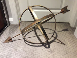 Antique Metal Orb with Arrow Architectural Salvage