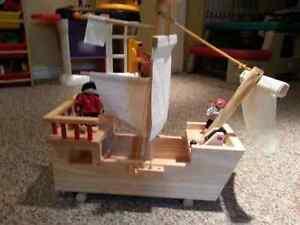 Unique wooden pirate ship
