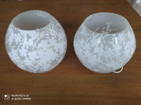 2 table/bed lamps White 18cm