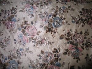 Bolt of suede furniture cloth floral print