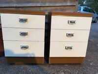 Pair 60's bedside drawers tables cabinets matching