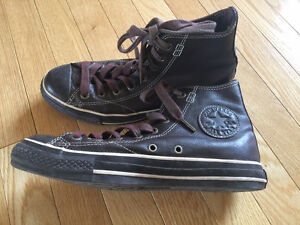 Genuine Brown Leather Converse High Top Chuck Taylor Sneakers