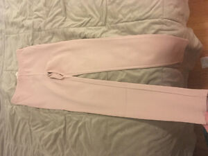 Off pink textured leggings with side zipper