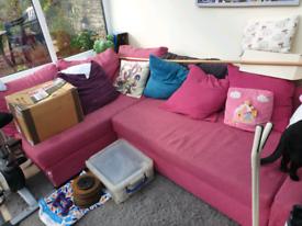 Pink ikea corner sofa bed with storage - please read description!