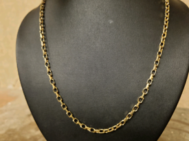 9ct gold diamond cut belcher chain necklace