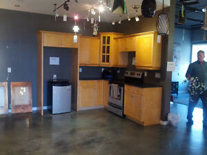 Solid Maple Kitchen Cabinets AND black granite countertops