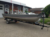 1998 Deep Hull Aluminum Meyers Fishing  Boat with Trailer