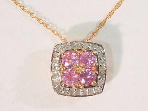 10K ROSE GOLD NECKLACE W/ PINK SAPPHIRE 0.55CT) DIAMOND (0.11CT)
