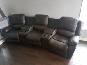Like new leather 3 seat reclining Entertainment sofa