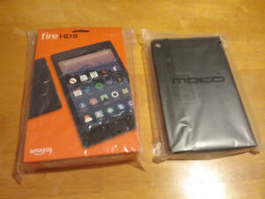 Kindle fire HD 8 tablet and case