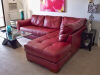 Red Leather Sectional/Chaise