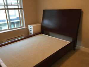 Queen-sized bed frame with headboard (with or w/o box spring)