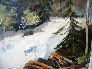 "Algonquin, Original Oil Painting by R. Dogger ""Wild River"" 1950 Stratford Kitchener Area image 4"