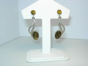 Gorgeous Silver and Green Amber Earrings