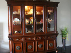 SOLID CHERRY BUFFET AND HUTCH, NEW CONDITION