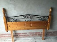 Pine & Wrought Iron Headboard