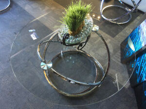 Gorgeous Glass/Silver Coffee Table.  **Just Arrived**