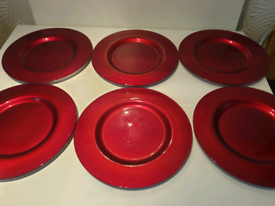 6 Ruby red glass charger plates £12