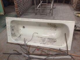 1930s (?) period cast iron bath complete with Art Deco legs