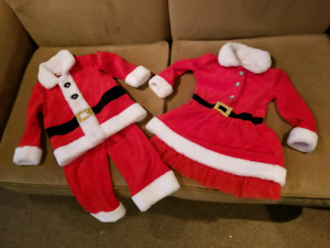 Twin Christmas outfits Santa and Mrs. Claus