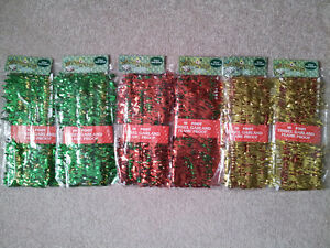 NEW 6 x 10 Foot colourful Tinsel Garland