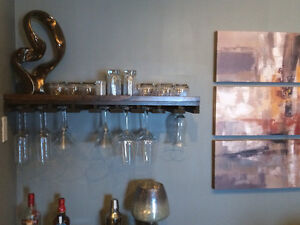 Floating shelf & stemware holder
