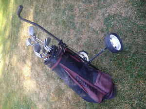 Right handed golf clubs with bag and cart