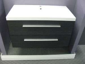 """35.5"""" modern wall mounted vanity with sink and cabinet"""