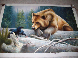 Stunning Oil on Canvas Bear Painting (unframed) NEWER PRICE